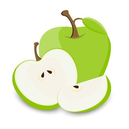 Set of green apples fruit in various styles