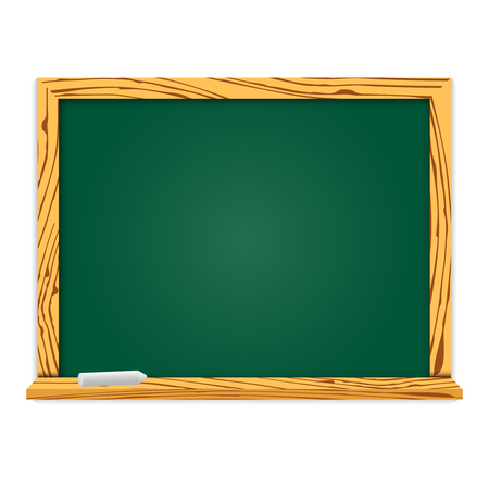 Realistic blackboard in wooden frame. For school or restaurant design, menu. Vector illustration with shadow isolated.