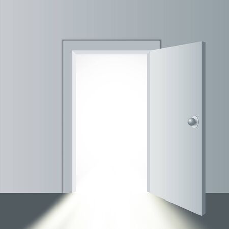 Open door in a white room with the outgoing light. Vector illustration