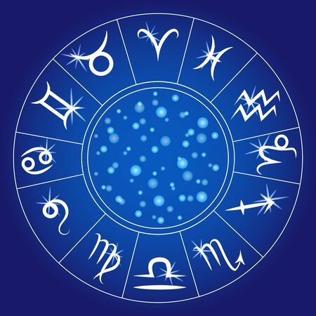 Zodiac signs. Zodiacal circle. Astrological calendar. Vector.