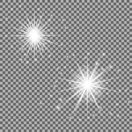 Effetti di luce incandescente con trasparenza isolata. Riflessi lente, raggi, stelle e scintillii. Illustrazione vettoriale Vettoriali