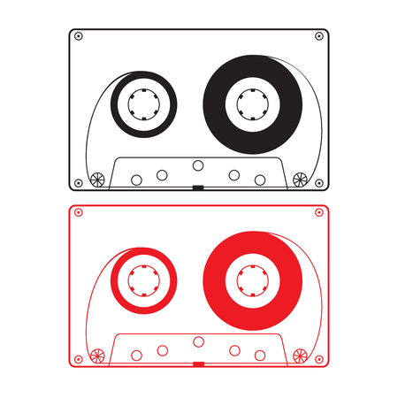 Silhouette of tape cassette black and red
