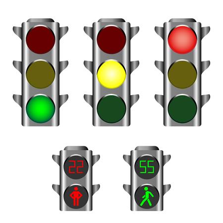 Semafori che mostrano luci rosse, gialle o verdi per i conducenti e luci pedonali rosse e verdi