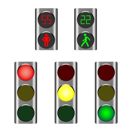 Semáforos que muestran luces rojas, ámbar o verdes para conductores y luces para peatones rojas y verdes