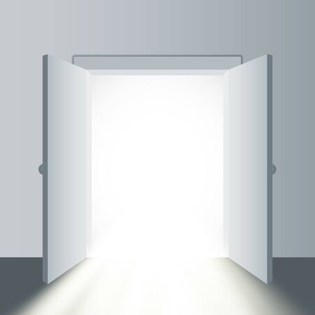 Opened door in a white room with the outgoing light. Vector illustration
