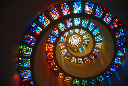 Spiral Glass window Stock Photo