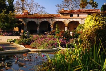 courtyard: Courtyard at Mission San Juan Capistrano Stock Photo