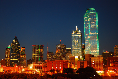 commercial: Dallas Texas Skyline at Dusk Stock Photo