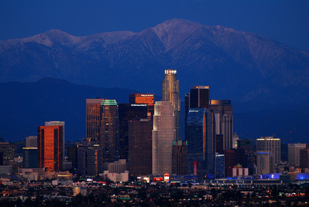 angeles: Los Angeles Skyline at Dusk Editorial