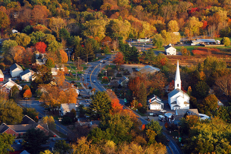 Aerial View of a Quaint New England Town 스톡 콘텐츠