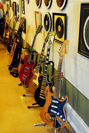 recorded: Guitars in Sun Studios Memphis, Where Elvis Presely First Recorded Editorial