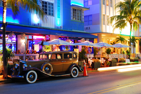 east end: A Classic Car parked in Front of the Park Central Hotel, Miami Beach Editorial