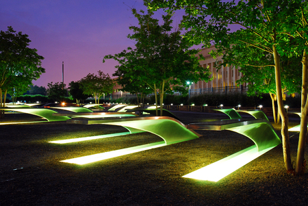 lighted: The Lighted Benches Serve as a Memorial for those Killed at the Pentagon on September 11