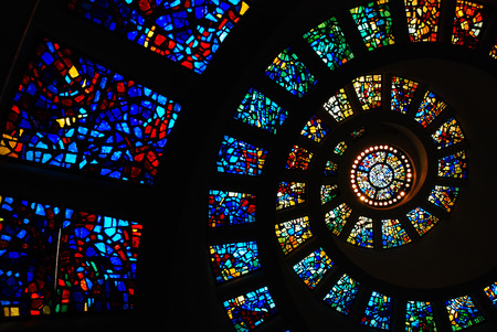 Circular Stained Glass of the Thanksgiving Chapel, Dallas Stock Photo