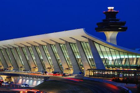 Eero Saarinen Sweeping Main Terminal Building of Dulles International Airport in Washington Editorial