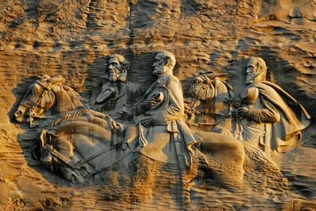 Confederate Carving on Stone Mountain near Atlanta, Georgia Editorial