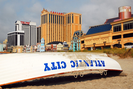 atlantic city: Atlantic City Beach Boardwalk and Casinos Editorial