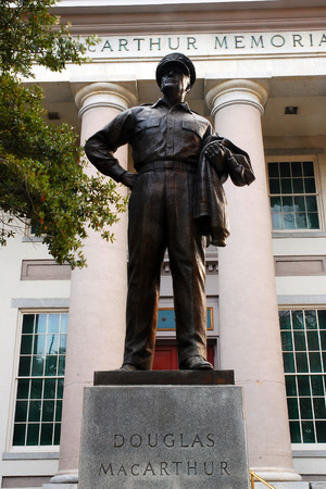 A Statue of General Douglas MacArthur stands outside the MacArthur Memorial in Norfolk Virginia
