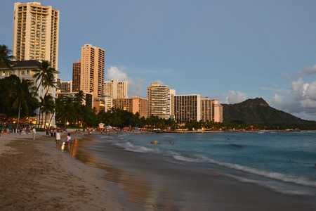 oceana: Dusk approaches Waikiki Beach in in Hawaii