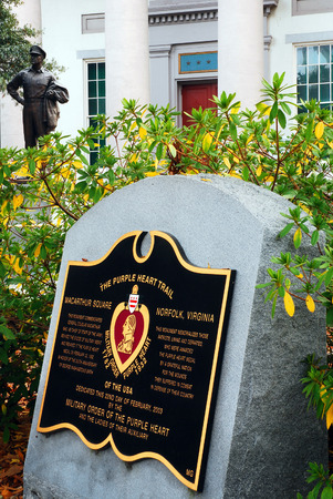 honors: A Plaque Honors the Purple Heart Recipients at the Douglas MacArthur Memorial in Norfolk Viginia
