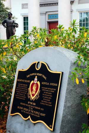 honouring: A Plaque Honors the Purple Heart Recipients at the Douglas MacArthur Memorial in Norfolk Viginia