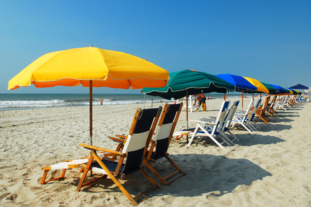 Umbrellas on the Grand Strand, Myrtle beach, SC Stock Photo