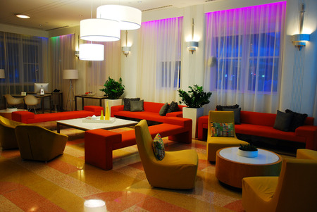 east end: Interior of Clevelander Hotel, Miami Beach Editorial