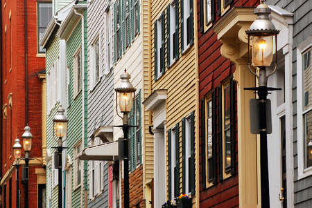 row of houses: Colonial Row Houses Charlestown, MA Editorial