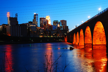 Minneapolis Skyline and the Stone Arch Bridge