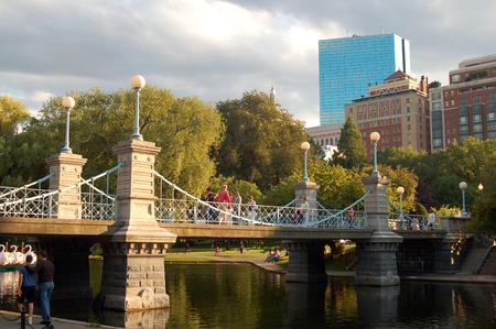 Victorian Suspension Bridge over the pond in Boston Publik Garden