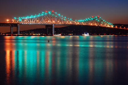 The Tappan Zee Bridge Reflects in the Hudson River Stock Photo