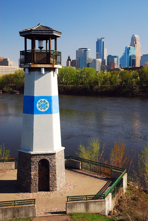 american midwest: Boom Island Lighthouse Serves as a Landmark on the Mississippi River in Minneapolis