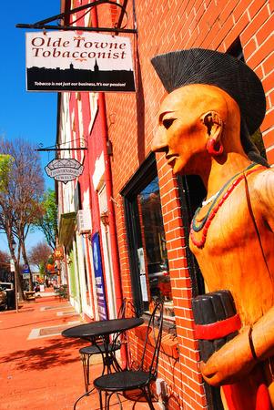 A Cigar Store Indian Outside a Tobacco Shop in Fredericksburg Virginia