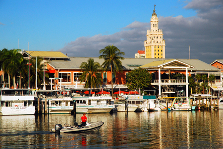 pix: Bayside Marina in Miami.  The Historic Freedom Tower Rises behind. Editorial