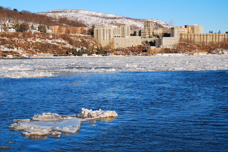 US Military Acadamy at West Point on the Banks of a Frozen Hudson River
