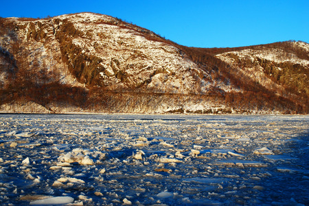 A Frozen Hudson River at Storm King Mountain