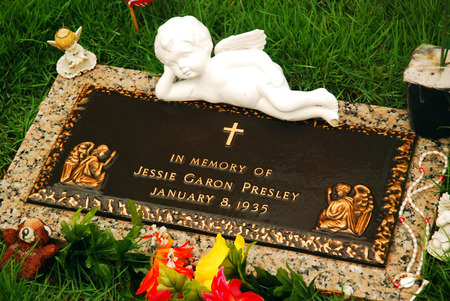 gravesite: Grave of Jessie Garon Presely, Elvis twin brother who died at birth.  The body was exhumed and reburied at Graceland