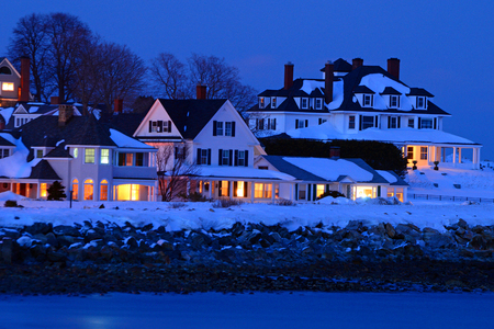 northeastern: The Seaside Town Of Hampton New Hampshire at Dusk in Winter