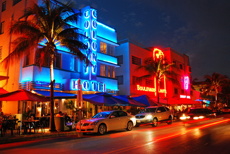 Neon Lights up the Night Along Ocean Boulevard, Miami Beach Editorial