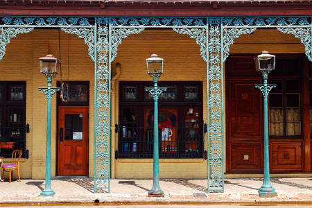 Intracate Iron Works adorn the Seville District in Pensacolas Historic Downtown Editorial