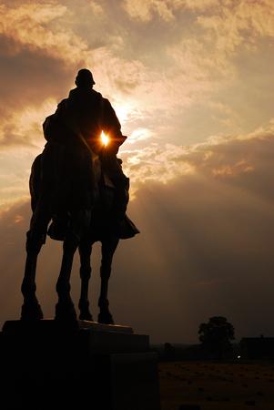 honoring: A statue honoring Confederate General Stonewall Jackson at Manassas Battlefield, site of an American Civil War Battle