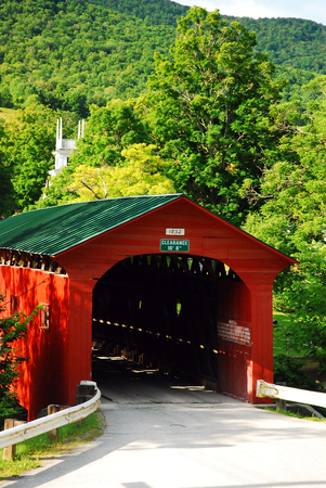 The Charming Red Covered Bridge in the Small Village of Arlington, Vermont