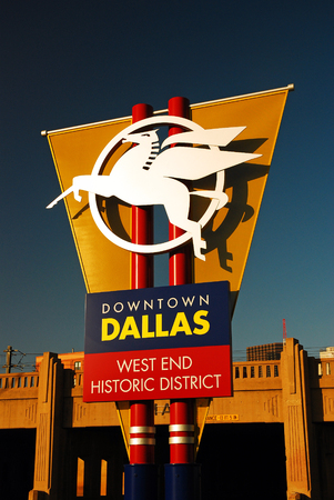 west end: Welcoming Sign, with Pegasus, Dallas Texas