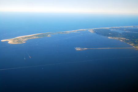 northeastern: An Aerial View of Sandy Hook, Raritan Bay and the Naval Station Earle, New Jersey