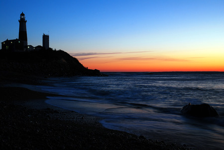 navigational light: Montauk Point Lighthouse in Dawns First Glow