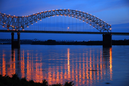 The Lights of the DeSoto Bridge Reflecting in the Mississippi River