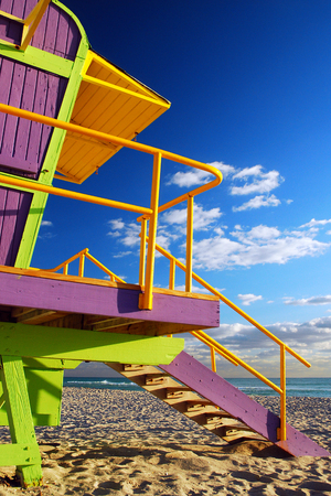 whimsy: Colorful Lifeguard Stands in Miamis South Beach Stock Photo