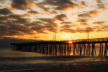 fishing pier: Sunrise at Virginia Beach Fishing Pier