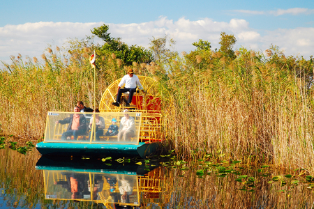 A Fan Boat comes through the grasses in the Florida Everglades