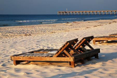 Beach Chairs Along Floridas Gulf Coast Stock Photo